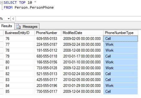 Figura 3. SELECT executado na tabela Person.PersonPhone após a refatoração.