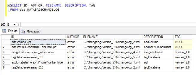 Figura 1. Resultado do SELECT executado na tabela databasechangelog após a adição da versão 2.